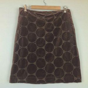 Boden Brown Velvet Pencil Skirt Womens US 8